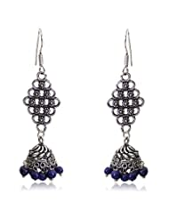 Beautiful Dark Blue Color Small Beads Antique Silver Touch Dangle & Drop Earrings By Lazreena