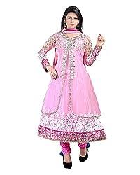 Ecoco Fashion Women's Net Anarkali UnStitched Dress Materials (ECOCO-2DIAMOND, Pink)