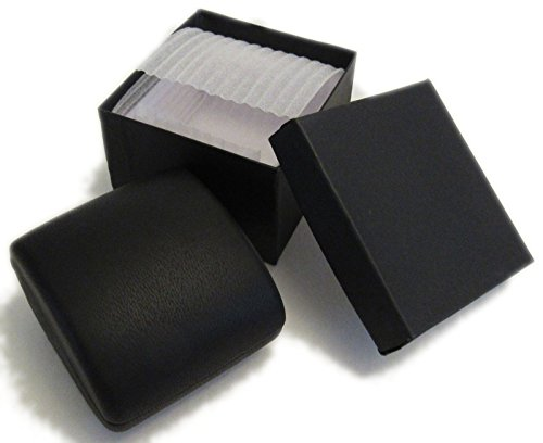 PU Leather Earrings,Coin,Jewelry,ring Box,Case, with Lighted up for Proposal,Engagement,Wedding,Gift (Black)