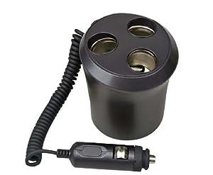 Pyle PL12VP3C Plug In Car 1 TO 3 Cigarette Lighter Multiplier Cupholder Design