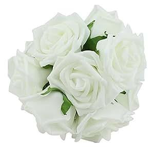 20pcs Wedding Bridesmaid Bridal Bouquet Rose Flowers White Amazon