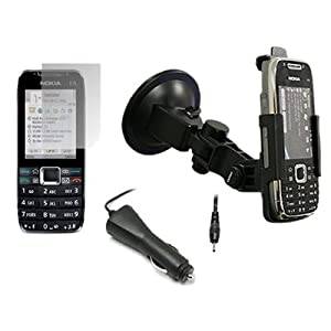 iTALKonline Premium SUBLIME Car Holder/Kit/Mount Custom Made for Nokia E75 with In Car Charger & LCD Screen Protector