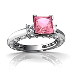 White Gold Square Created Pink Sapphire and Diamond Engagement Ring