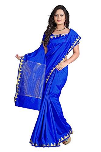 e-VASTRAM Womens Art Silk Zari Border Saree(PIPING_Blue)