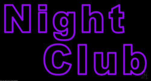 """Purple Block Night Club Clear Backing Neon Sign 20"""" Tall X 37"""" Wide front-873219"""