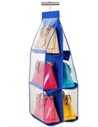 "CONNECTWIDE®Hanging Bags Organizer: 6 Layer Transparent Designer Qty.(1pcs) Color:Assorted Dimensions:- 34""x 14..."