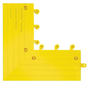 "Wearwell PVC 560 ErgoDeck Anti-Fatigue Outside Corner Ramp, for Wet Areas, 6"" Width x 15"" Length x 7/8"" Thickness, Yellow (Pack of 4)"