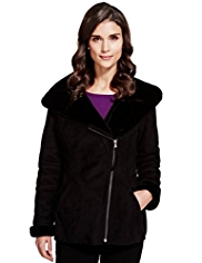 Per Una Hooded Faux Shearling Trim Jacket