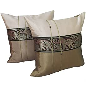 Throw Pillows On The Bed Song : The Elephants Pattern Thai Silk Pillowcase Pillowcover Cushions for Bed Sofa Couch Throw ...