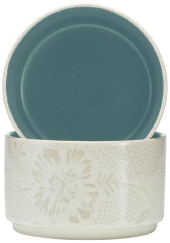 Noritake Colorwave Bloom Stacking Bowl, Turquoise Blue, Set Of 2