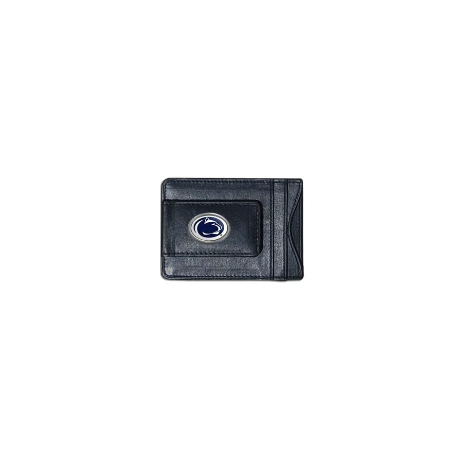 Penn State Nittany Lions Black Leather Card Holder and Magnetic Money Clip