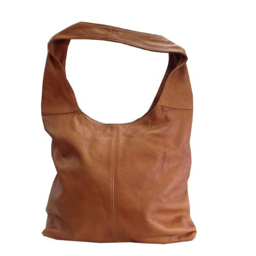Cognac Soft Italian Leather Handbag, Shoulder Bag or Slouch Bag