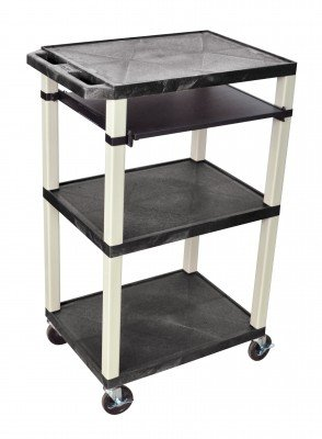 H Wilson Wtps42E-P Flat-Top Presentation Cart With Pull Out Tray, 3 Shelves, Black And Putty