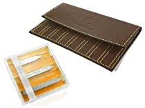 Combo Set of Wurkins Stiffs 3 Pack of Assorted Magnetic Collar Stays and a Brown Carrying Case