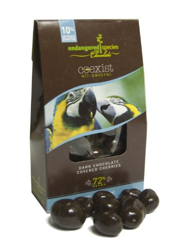 Endangered Species Chocolate Co-Exist Pouch, Dark Chocolate Covered Cherries (Macaw), 3-Ounce Pouches (Pack of 6)