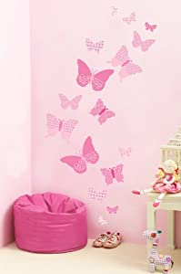 Vintage Butterflies Wall Stickers - Pink Collection