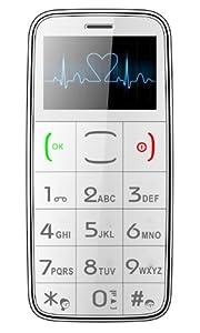 Weißes Senioren Handy, Großtasten Telefon mit Taschenlampe, MP3, SOS Notfall Taste inkl. 2ten Ersatzakku