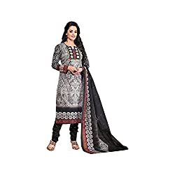 MAC Grey Printed Unstitched Salwar Suit for Women