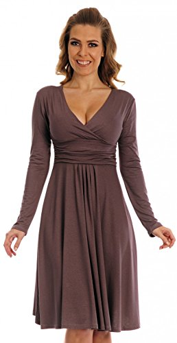 Glamour Empire. Women's Knee Length Long Sleeve Jersey Skater Empire Dress. 890 (Cappuccino, 20)