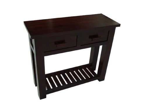 Homescapes Mangat Console Table , 100% Mango Wood Furniture , Walnut Shade. 90 x 35 x 78 cm With 2 Drawers and a Storage Shelf