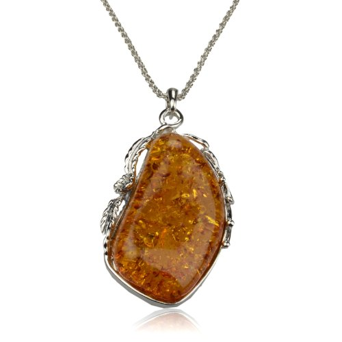 Women's Baltic Single Silver Faux Amber Gem Gorgeous Floral Necklace Pendant B3130K