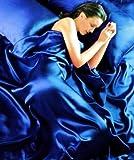 Königsblau 6 Stück Satin Luxusbettwäsche (Spannbetttuch + Bettdecke + Kissenbezüge) 230cm x 220cm