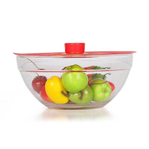 iNeibo couvercle silicone, Set de 5 couvercles d'aspiration, réutilisables en 5 tailles différentes, efficace pour couvrir: casseroles, poêles, bols, tasses etc, 100% silicone alimentaire sans BPA