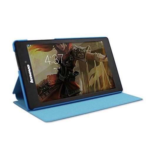IVSO Lenovo Tab 2 A7-10 Hülle Case Folio Tasche Cover - mit Standfunction Slim Style Leder Folio Schutzhülle NUR geeignet für Lenovo Tab 2 A7-10 17,8 cm (7 Zoll IPS) Tablet (Für Lenovo Tab 2 A7-10, Blau)