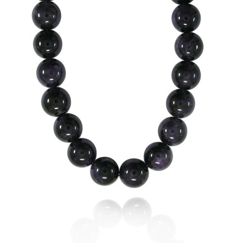 16mm Round Amethyst Bead Necklace, 30+2