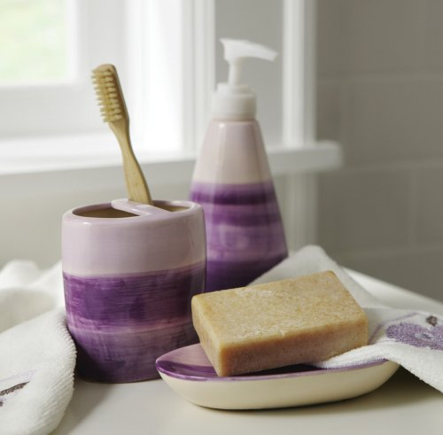 Purple Ombre Striped Bathroom Accessory Set By Collections Etc