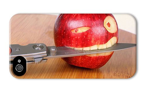 Hipster Iphone 4S Covers Carry Funny Apple Knife Pc 3D For Apple Iphone 4/4S