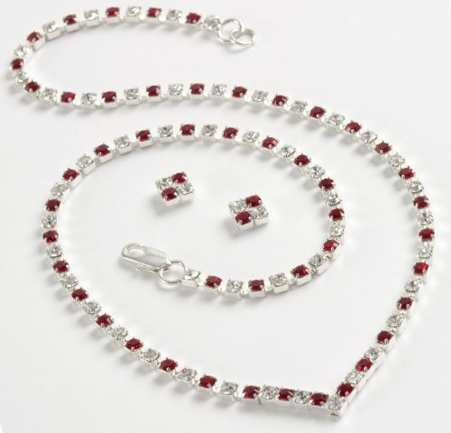Crystal & Ruby 'V' Necklace & Earring Set (S5062) - Swarovski Crystal - Red Jewellery Set - Ladies Gifts - Valentines Day Gifts