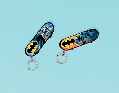 Amscan Awesome Batman Skateboard Keychain (1 Piece), Yellow/Blue, 3 1/8 x 1""
