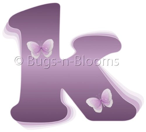 """K"" Purple Butterfly Alphabet Letter Name Initial Wall Sticker. Decal Letters For Children'S, Nursery & Baby'S Room Decor, Baby Name Wall Letters, Girls Bedroom Wall Letter Decorations, Child'S Names. Butterflies Mural Walls Decals Baby Shower front-1079230"