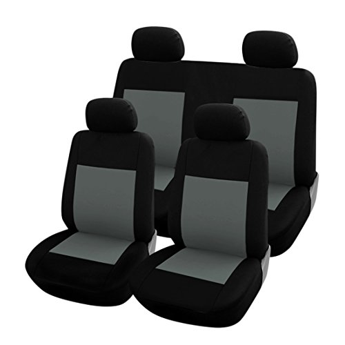 uxcell Car Seat Covers Full Set w/ 4 Head Rests For Auto Gray Black New (Car Parts For Toyota Yaris compare prices)