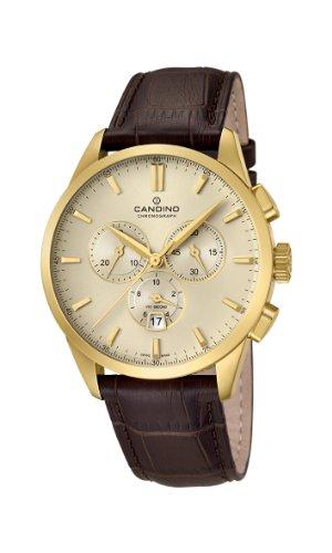 Candino C4518/1 - Reloj cronógrafo de cuarzo para hombre, correa de cuero color marrón (cronómetro)