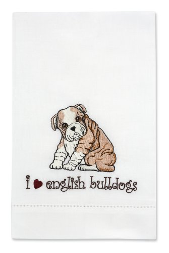 Rescue Me Now English Bulldog Tea Towel, 11 By 7-Inch, Embroidered front-522867