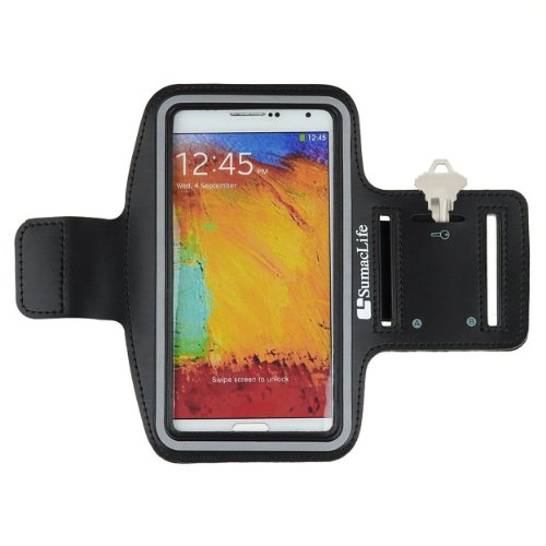 Sumaclife Armband - Black Gray Sport Workout Neoprene W/ Key & Earphone Holder For Samsung Galaxy Note 3 & 2 Android Phone