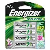 BATTERY, ENERGIZER RCHGBL, AA 4 PK.