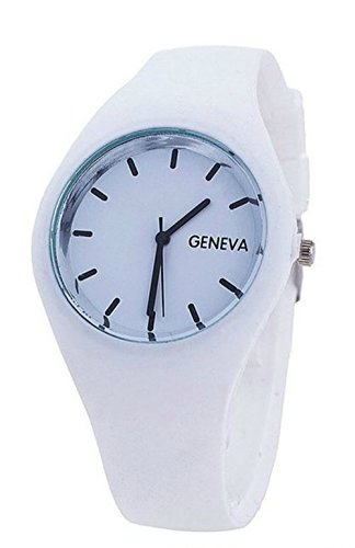 Wonderful White Silicone Jelly Watch Sleek Inlayed Watch Face Thin Form (Silicone Jelly Watch For Men compare prices)