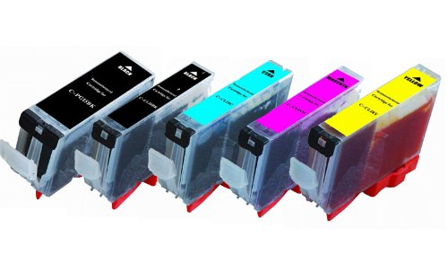 5-Pack (1 each) Ink w/ Chip for Compatible PGI-220BK CLI-221 Canon Pixma Canon iP3600 iP4600 MP560 MP620 MX860 MP980