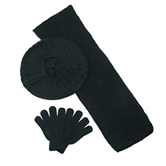 CTM® Girls Rosettes Beret Scarf and Gloves Winter Set, Black
