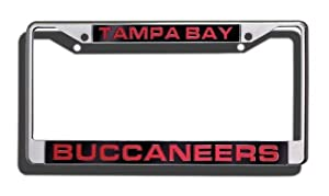 Tampa Bay Buccaneers NFL Rico Laser Cut Chrome License Plate Frame! Officially Licensed Top of the Line Metal Plate Frame ! Showcase your Team Spirit when you're on the Road and set yourself apart in Traffic! Easy to Mount and Highly Durable! A Great Team Collectible ! Makes a Great Gift!!