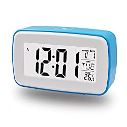 Goldmice DIY Recording Snooze Alarm Clock with Date, Temperature Display, Countdown Counter, Low Light Sensor Technology, Touch-sensitive Alarm Clock with Back Light, Make Your Own Ringing (Blue)