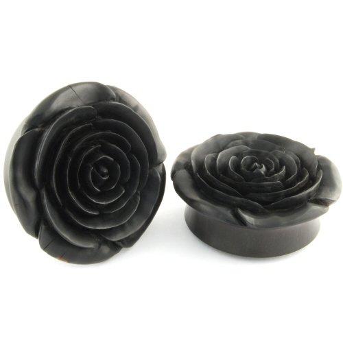 Pair of Arang Wood Smooth Side Rosebud Plugs: 2