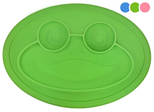 Round Silicone Suction Placemat for Children, Kids, Toddlers, Babies Highchair Feeding Tray or Kitchen Dining Table with Built in Plate and Bowls, Set Comes with Reusable Travel Bag by Salbree, Green