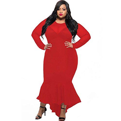 Pengfei Sheer Mesh Splice Curvy Mermaid Dress 61086 , red , xxl