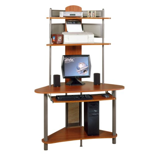 Buy Low Price Comfortable Tower Corner Computer Desk – Pewter and Cherry Finish (B004XENPOC)