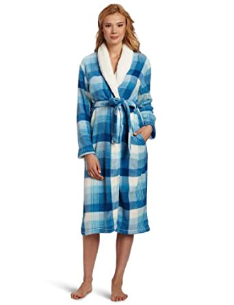 Dearfoams Women's Sherpa Shawl Printed Long Robe, Blue Fireplace Plaid, Small