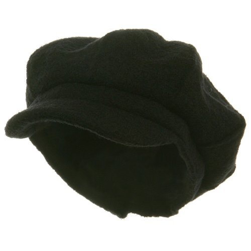 Big Size Boiled Wool Newboy Cap-Black W07S37B